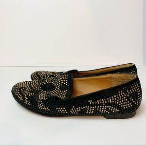 Bamboo Sparkly Rhinestone Pattern Flat Loafers Women's Size 7.5 Black Gold